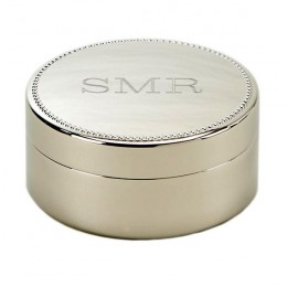 Beaded Edge Round Monogram Jewelry Box
