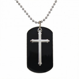 Cross Black Dog Tag with Monogram or Initial