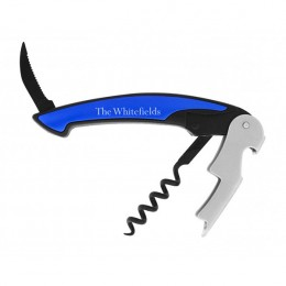 Metallic Blue Personalized Corkscrew & Bottle Opener