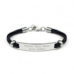 Engravable Black Leather Cord ID Bracelet