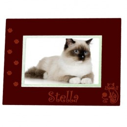 Kitty Cat Personalized Rosewood Photo Frame - 5 x 7