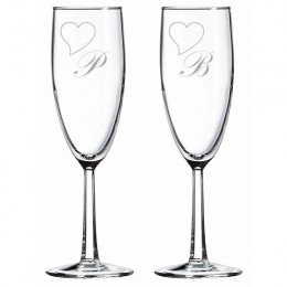 Romantic Noblesse Champagne Flute Set with Initial