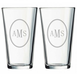 Monogram Pint Glasses - Set of Two