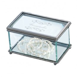 Elegant Glass Customized Jewelry Box with Braided Border