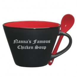 Black & Red 16 Oz Soup Mug 'n Spoon with Message