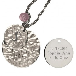 Engravable Round Hammered Silver Pendant