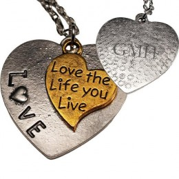 Love the Life You Live Heart Pendant