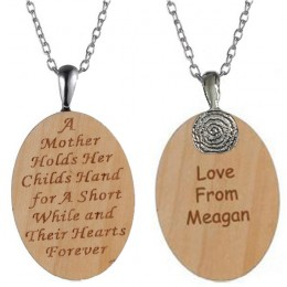Mother's Wooden Oval Pendant
