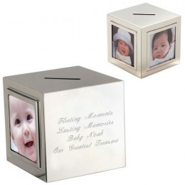 Engraved Photo Cube Piggy Bank
