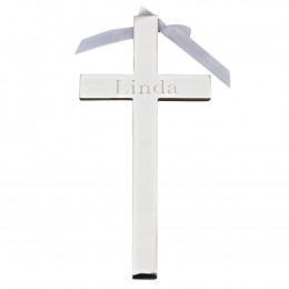 Silver Plated Cross with Ribbon