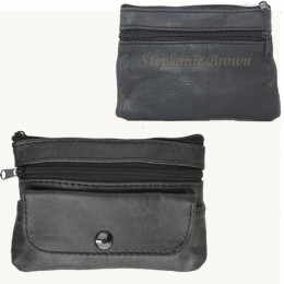 Leather Four-Compartment Personalized Change Purse