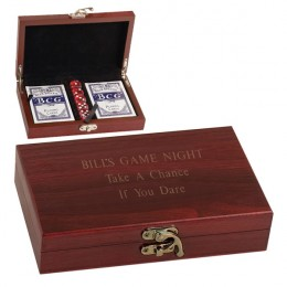 Cards & Dice Set in Personalized Wood Box