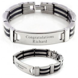 Black and Steel Striped Men's ID Bracelet