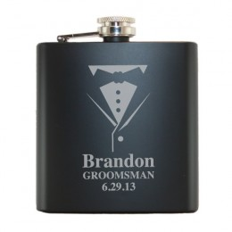 Personalized Black Tuxedo Flask