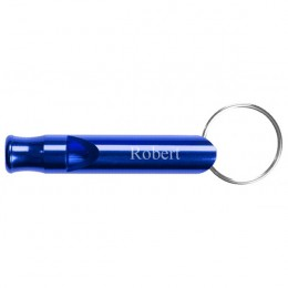 Personalized Blue Whistle Keychain
