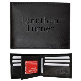 Men's Black Leather Bi-Fold Personalized Wallet