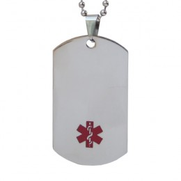 Steel Medical ID Dog Tag with Small Symbol