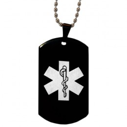 Black Engraved Medical Alert Dog Tag