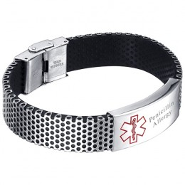 Men's Engraved Mesh Medical ID Bracelet