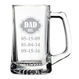 Dad Established Custom Etched Beer Mug 15oz