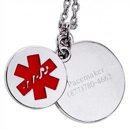 Engraved Round Tag Medical ID Pendant