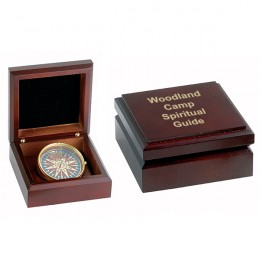 Personalized Desk Compass in Mahogany Box