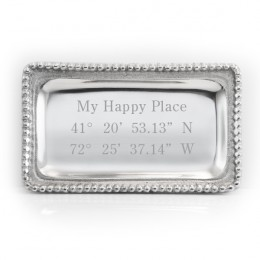 Engraved Custom Coordinates Jewelry Tray