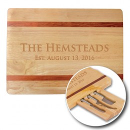 Personalized Cheese Cutting Board with Knives