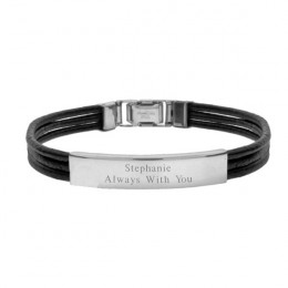 Engravable Black Leather Triple Cord ID Bracelet