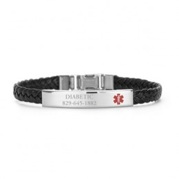 Engraved Black Braided Medical Alert Bracelet