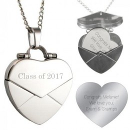 Engraved Secret Message Heart Envelope Locket