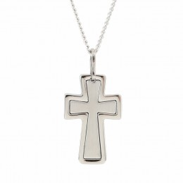 Engraved Petite Stainless Steel Cross Pendant