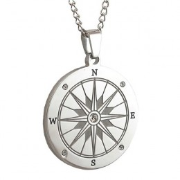 Engraved Compass Pendant