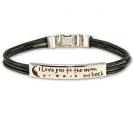 I Love You To The Moon and Back Leather ID Bracelet