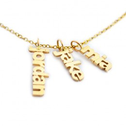 Gold Vermeil Dangling Family Name Necklace