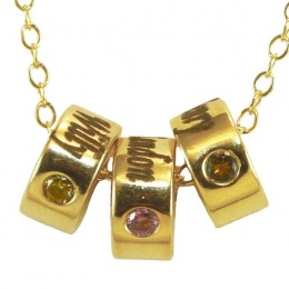 Gold Vermeil Birthstone Necklace with Round Charms