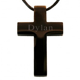 Engraved Stainless Steel Black Cross Pendant
