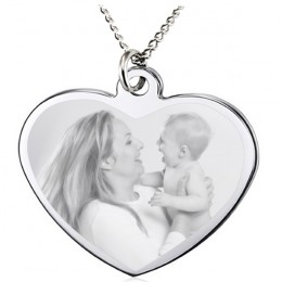 Custom Engraved Heart Picture Pendant