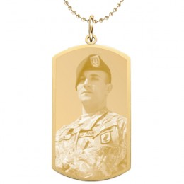 Small Engraved Gold Photo Dog Tag