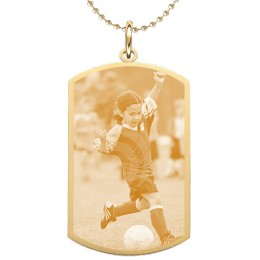 Medium Gold Engraved Photo Dog Tag
