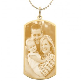 Large Gold Engraved Photo Dog Tag
