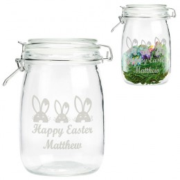 Easter Bunnies Personalized Glass Treat Jar