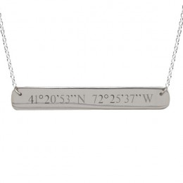 Custom Coordinates Sterling Silver Bar Necklace