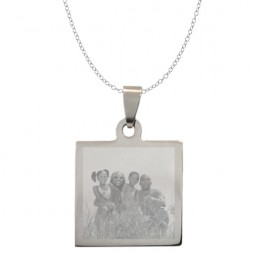 Photo Engraved Square Picture Necklace