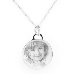 Photo Engraved Sterling Silver Round Picture Pendant