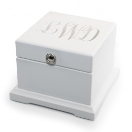 Blanca White Monogrammed Jewelry Box