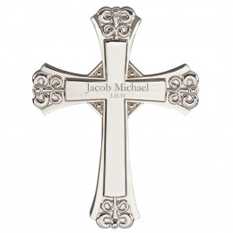 Engravable Ornate Design Silver Wall Cross