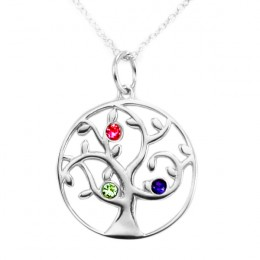 3 Stone Birthstone Family Tree Pendant