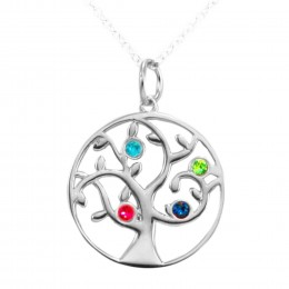 4 Stone Birthstone Family Tree Pendant