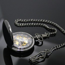 Engraved Smooth Black Skeleton Pocket Watch